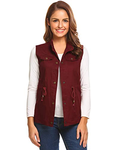 Aimage Womens Lightweight Stand Collar Snap Button Drawstring Pockets Vest Gilets Wine Red