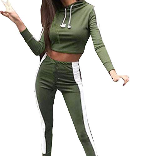 Women Tracksuit Sweatshirt Pants Sets Sport Long Sleeve Wear Casual Suit (Army Green, S Bust:88cm/34.6