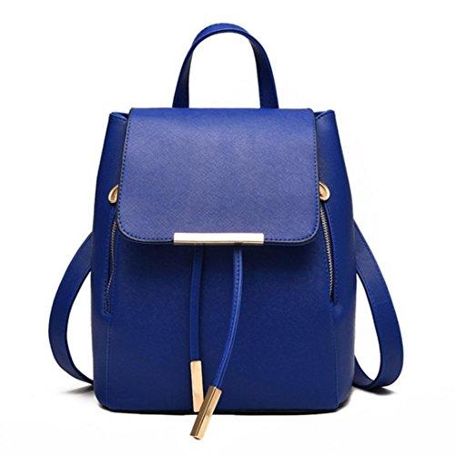 Damen Rucksack Clode® PU Leder Rucksack Damen Leder Tasche Backpack Schulrucksack mit Mode Nieten Design für Mädchen (Dunkelblau) RClT5