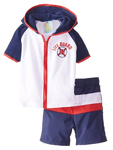 Baby Buns Infant Boys 2 Piece Life Guard Cover Up & Swim Trunks Set 24m