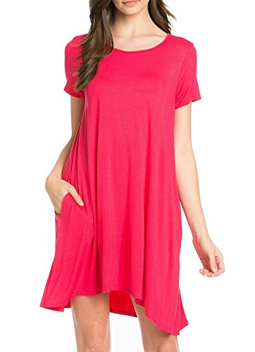My Space Clothing Womens Side Pocket Knit Jersey Swing Dress - Made in USA (Large, Fuchsia)