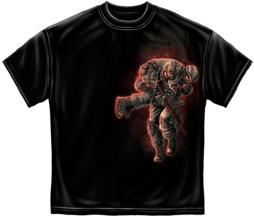 Rescuetees Men's No One Gets Left Behind Military T-Shirt Black XX-Large