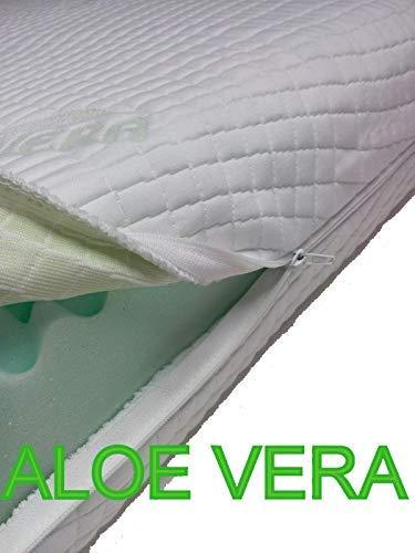 Coprimaterasso Anallergico con Cerniera su 4/Lati Aloevera Easy Clean Tutte Le Misure alle Altezza, Coprimaterasso Materasso