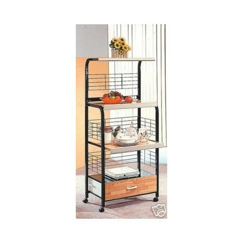 Black Finish Kitchen Microwave Cart w/ Electric Socket by H-M SHOP by H-M SHOP (Image #1)