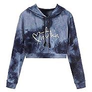 FANXING Women's Long Sleeve Sweatshirt Ladies Letter Dyed Printed Casual Hoodies Sports Hooded-Tops Hoody Blouse