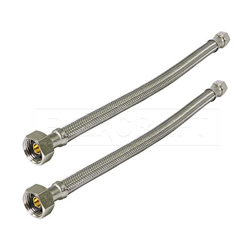 FlexCraft 27116-NL-2, Faucet Supply Line Connects Kitchen Sink To Water Supply, Braided Faucet Connector With 1/2 In x 3/8 In Brass Nut, Stainless Steel 16 In (Pack Of 2) (Sink Y Connector)