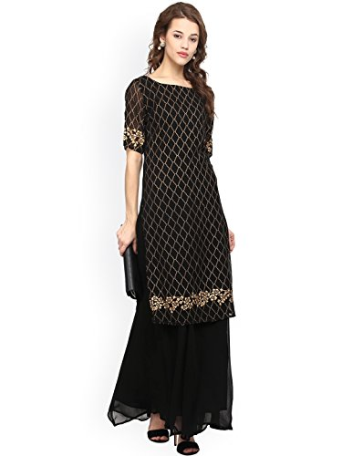 Dream Angel Fashion DreamAngel Women Black & Gold-Toned Woven Design Straight Kurta (Extra Large)