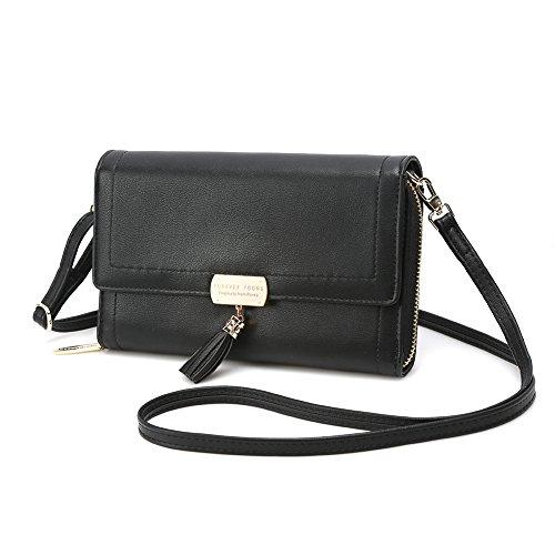 Crossbody Wallet Women's Purse Clutch Handbag Shoulder Evening Bag with Tassel and Removable Strap (Large, Black)