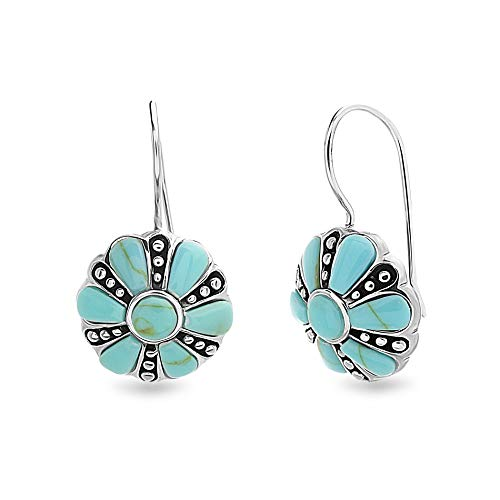 WILLOWBIRD Simulated Turquoise Beaded Flower French Wire Drop Earrings for Women In Oxidized 925 Sterling Silver