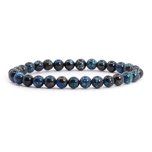 "Justinstones Natural Chrysocolla Gemstone 6mm Round Beads Stretch Bracelet 6.5"" Unisex"