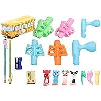 يشمل حامل أقلام مريح للأطفال - 13 حامل أقلام رصاص و1 حقيبة حافلة مدرسية وقلم رصاص ومبراة واحدة وممحاة واحدة