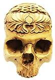 Tibet Kapala Dual Fish Tattooed Half Human Head Skull Sculpture Figurine premium decor collectible figurine