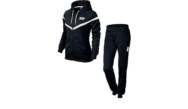 Nike – Chándal para mujer negro/blanco Talla:extra-small: Amazon ...