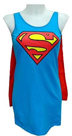 DC Comics Supergirl Tank Style Night Shirt with Cape (X-Large)