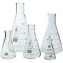 Karter Scientific Glass Flask 5 Piece Set, Narrow Mouth Erlenmeyer, Borosilicate 3.3 Glass - 50ml, 150ml, 250ml, 500ml, 1L, 213B2