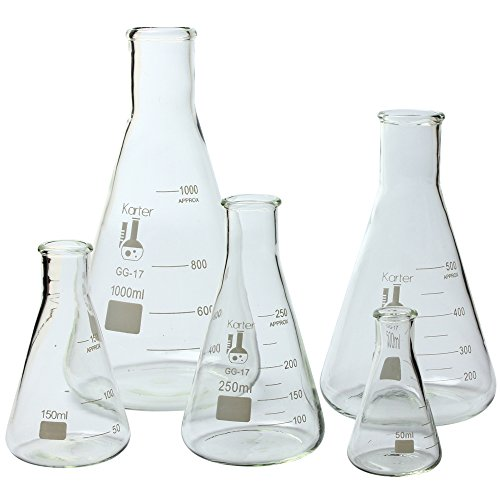 Glass Flask 5 Piece Set, Narrow Mouth Erlenmeyer, Borosilicate 3.3 Glass - 50ml, 150ml, 250ml, 500ml, 1L, Karter Scientific 213B2