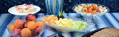 plato de frutas Elegante cuenco de pl/ástico grande con corte de cristal ensalada dise/ño de g/óndola 45 cm x 22 cm plato expositor
