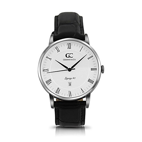 Gelfand & Co. Unisex Minimalist Watch Black Crocodile Leather Vandam 40mm Silver with White Dial