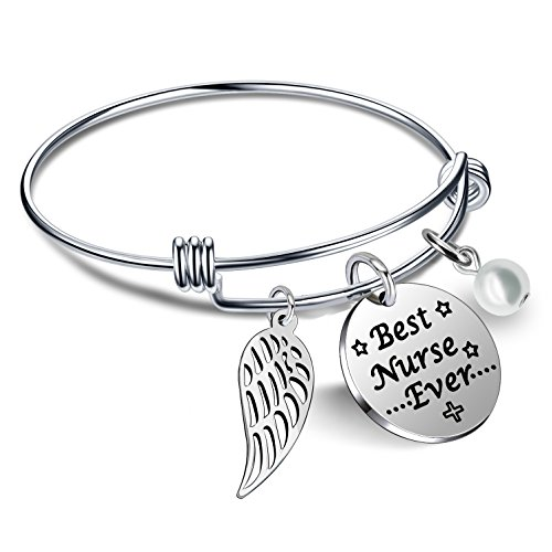 lauhonmin Nurse Gifts Bracelet for Women Pearl Wings Nightingale Nurse's Day - Best Nurse Ever Stainless Steel