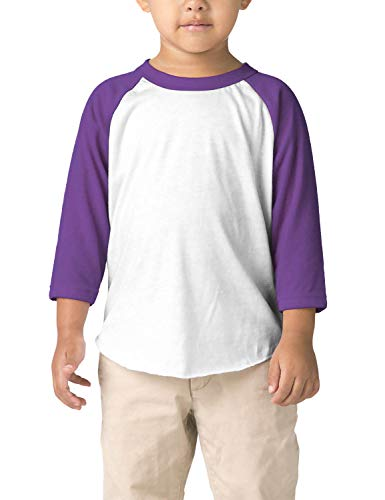 Hat and Beyond Infant Raglan 3/4 Sleeves Baseball Tee (24M, (Baby) 5bh03_White/Purple)