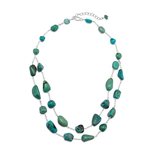 Reconstituted Turquoise Nugget Sterling Silver Necklace ()