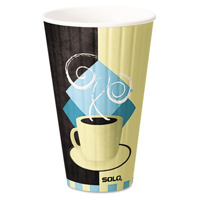 SOLO Cup Company Duo Shield Insulated Paper Hot Cups, 20oz, Tuscan, Chocolate/Blue/Beige, 350/Ct ()