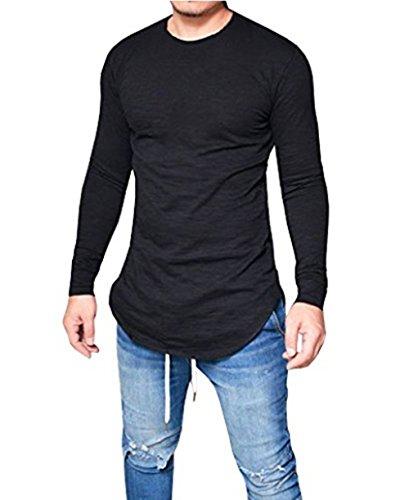 LIWEIKE Mens Solid Extended Hipster Hip Hop Swag Curve Hem Long Sleeve T Shirt (Black, Medium) by LIWEIKE