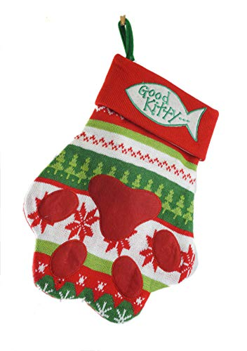 Gerson Good Kitty Paw Print Knitted Pet Christmas Stocking -