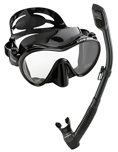 Mask Snorkel Sets (Cressi Scuba Diving Snorkeling Freediving Mask Snorkel Set, All Black)