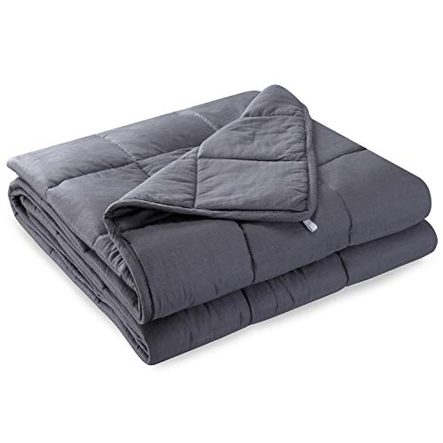 Anjee Weighted Blanket for Kids | Premium Heavy Blanket | 100% Eco-Friendly Cotton Material with Silica Beads for Better Sleep & Relaxing (48 x 72 Inches, 12 lbs for 100-150 lbs Individual, Grey)