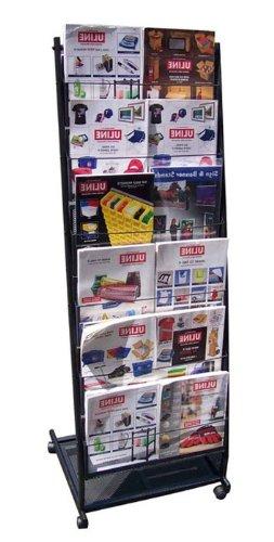 Fantastic Displays 6 Pocket Mobile Literature Rack Brochure Holder for Magazine Rolling - Large