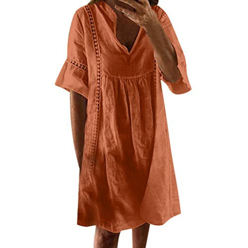 (Sunhusing Womens Solid Color V-Neck Ruffled Hollow-Out Cuffs Loose Casual Short-Sleeve Mini Beach Dress Orange)