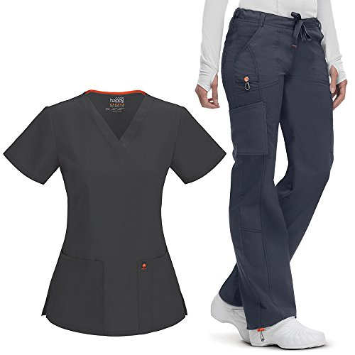 Code Happy Women's V-Neck Scrub Top & Low Rise Scrub Pant Set Medium Pewter by Code Happy