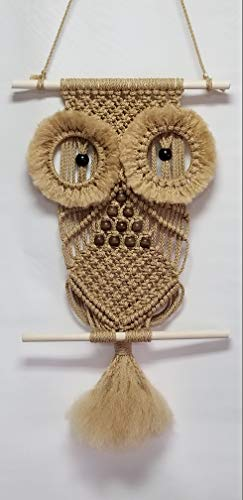 Macrame Owl Wall Hanger 22 in - Choose Color (Sand) ()