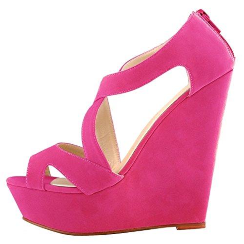 EKS - Zapatos de Tacón Mujer Rojo - Rot-Wildleder