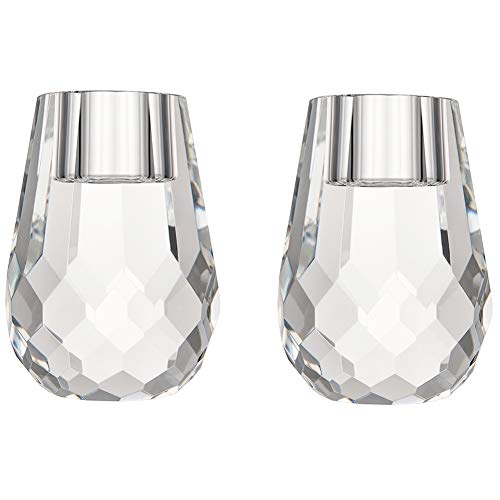 DONOUCLS Crystal Candle Holder Honeycomb Appearance Hand Cut Crystal Tealight Holders Banquet Decorations for Dinner 2.4x3.2Inches Pack of 2 ()