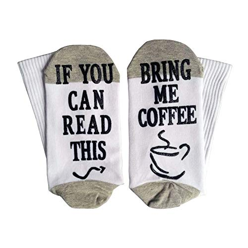 Yinpinxinmao Bring Me Coffee Funny Letter Creative Print Breathable Cotton Men Women Long/Short Socks Middle Tube Socks Long Black + White ()
