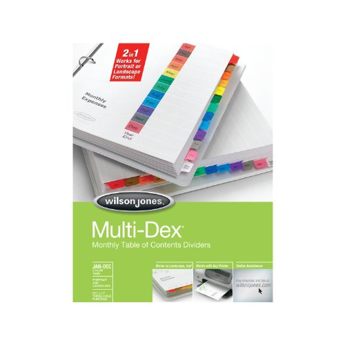 Wilson Jones MultiDex Dividers, Jan-Dec Tab Index, Multicolor Tabs with Black Print, Pre-Labeled, Table of Contents (Wilson Notebook)