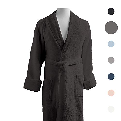 Luxor Linens - Terry Cloth Bathrobe in a Variety of Colors - 100% Egyptian Cotton - Luxurious, Soft, Plush Durable Robe - Dark Grey ()