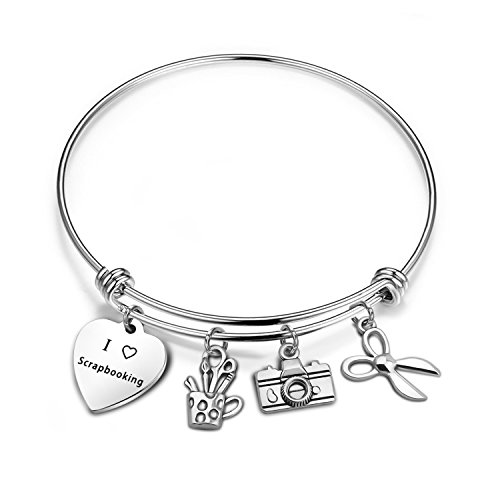 bobauna Scrapbook Jewelry I love Scrapbooking Bracelet With Scrapbook Camera Scissors Charms (scrapbook bracelet)