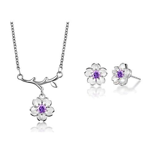 Silver Plated-brass and Cubic Zirconia Necklace Earring Set Pink purple Purple Flower (purple flower)