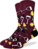 Good Luck Sock Men's Wine & Cheese Socks - Red, Adult Shoe Size 7-12