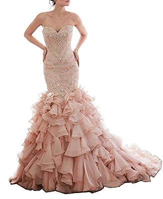 Tsbridal Beaded Mermaid Wedding Dress 2017 Sweetheart Light Pink Wedding Gowns