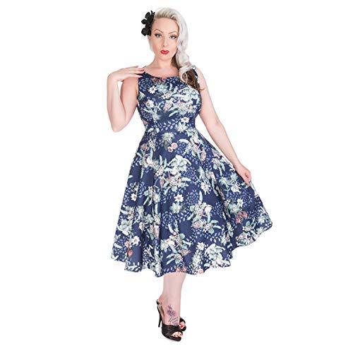 Hearts & Roses Londres Flores Azules Pájaro Vintage Retro 1950s de Campana Vestido de Tarde -