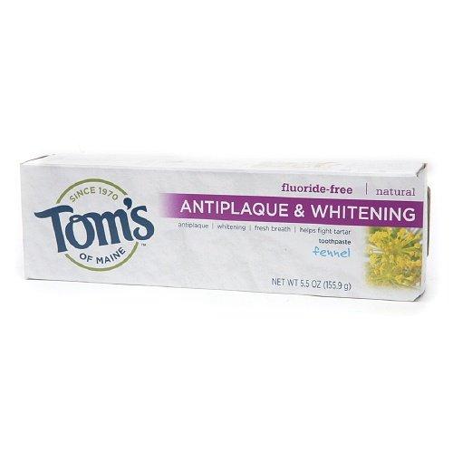 Tom's of Maine Antiplaque & Whitening, Fluoride-Free Natural Toothpaste, Fennel 5.5 oz (155 g)