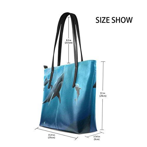 Purses Underwater Thrilling PU Shoulder Bags Shark Handbag Handle Fashion Totes Top TIZORAX Women's Leather World 6d4H6gq