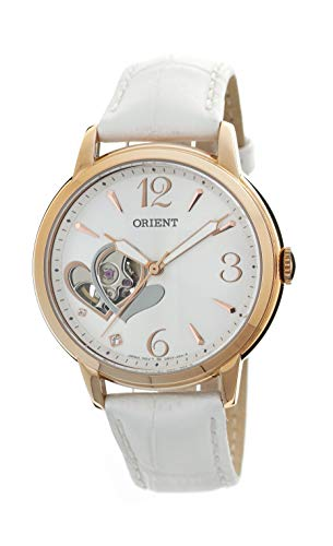 Orient Fashionable Automatic Ladies Open Heart Rose Gold White Leather Watch with Crystal DB0700DW