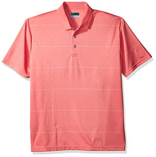 PGA TOUR Men's Short Sleeve Jacquard Polo Shirt, Argyle Stripe Sunkist Coral with Bright White L