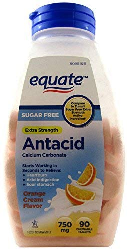 Equate Extra Strength Sugar Free Antacid Orange Cream Flavor 750 mg, 90 Chewable Tabs Compare to Tums by Equate