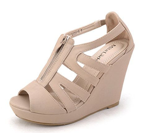 Mila Lady Lisa 5 Strappy Open Toe Platform Wedges Heeled Sandals Shoes for Women Nude 10 ()